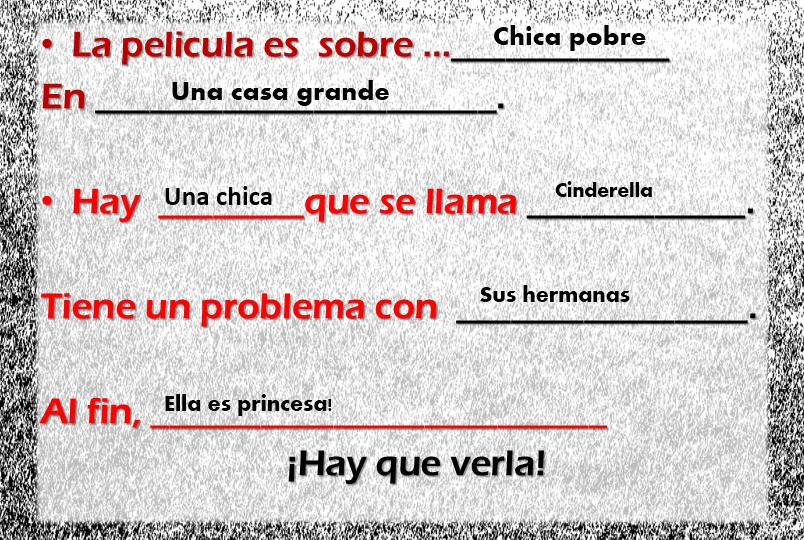 Cinderella Spanish class